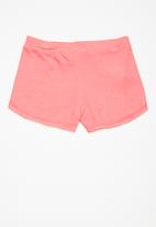 MINOTI - Kids girls raw edge towelling shorts - pink