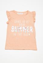 MINOTI - Kids girls summer sequin top - peach