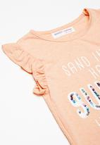 MINOTI - Kids girls summer sequin top - peach