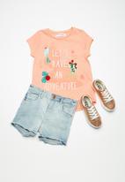 MINOTI - Kids girls slub T-shirt - peach
