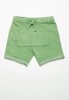 MINOTI - Kids boys washe fleece shorts - lime