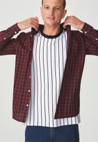 Cotton On - Brunswick shirt  - burgundy & navy