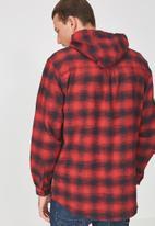 Cotton On - Zip long sleeve hood shirt - black & red