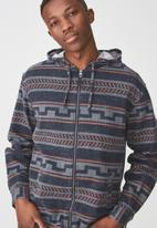 Cotton On - Zip long sleeve hood shirt - navy & brown