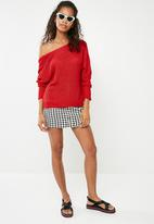 Missguided - Plunge back knitted jumper - red