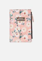 Typo - Travel zip journal - pink daisy