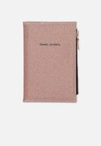 Typo - Travel zip journal - rose gold glitter