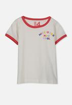 Cotton On - Penelope short sleeve tee - grey & red