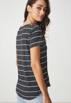 Cotton On - Deep v -wide stripe tee - charcoal