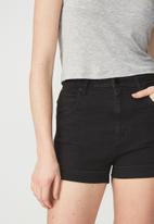 Cotton On - High classic stretch denim shorts - black