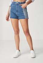 Cotton On - High classic stretch denim short - blue