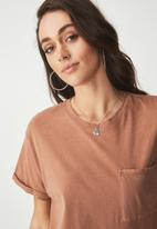 Cotton On - Boyfriend pocket tee - tan