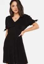 Cotton On - Woven Spencer short sleeve tea dress - black