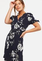 Cotton On - Woven Spencer short sleeve tea dress - navy & white
