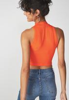Cotton On - Sleeveless mock neck tank -  orange