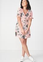 Cotton On - Woven Spencer short sleeve tea dress - multi