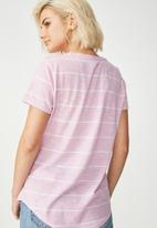 Cotton On - Crew T-shirt - pink & white