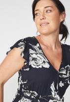 Cotton On - Woven Frankie V-neck culotte jumpsuit - navy & white