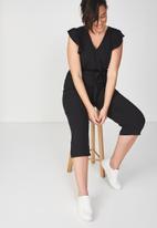 Cotton On - Woven Frankie v neck culotte jumpsuit - black