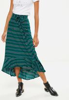 Cotton On - Woven Carlette maxi skirt - green & black
