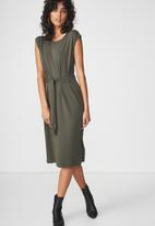 Cotton On - Tie waist midi dress - green