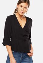 Cotton On - Peplum wrap blouse - black