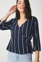 Cotton On - Peplum wrap blouse - navy & white