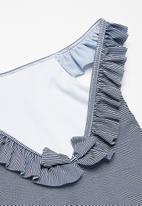 dailyfriday - Kids girls ruffle sleeve swimming costume - navy & white