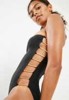 New Look - Bar detail swimsuit - black