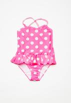 dailyfriday - Kids girls halterneck swimming costume - pink & white