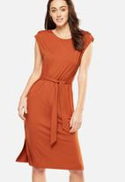 Cotton On - Fiona tie waist midi dress - orange