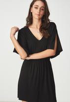 Cotton On - Reina V-neck fit flare dress - black