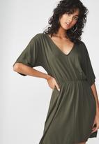 Cotton On - Reina V-neck fit flare dress - green