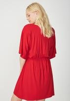 Cotton On - Reina V-neck fit flare dress - red