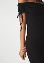 Cotton On - Elise off the shoulder tie detail dress - black