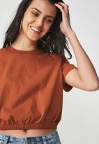 Cotton On - Ivy short sleeve waisted top - tan