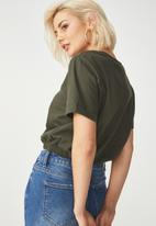 Cotton On - Ivy short sleeve waisted top - green