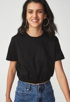 Cotton On - Ivy short sleeve waisted top - black