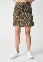 Cotton On - Woven Kelly knot front mini skirt - khaki