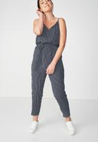 Cotton On - Woven strappy Jackie jumpsuit - navy & white