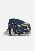 Missguided - Western denim buckle belt - blue