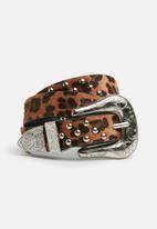 Missguided - Leopard print western belt - brown