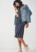 Cotton On - Woven Marce midi slip dress - navy & white