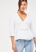 Cotton On - Peplum wrap blouse - white