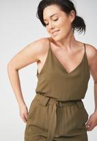 Cotton On - Woven strappy Jackie jumpsuit - green