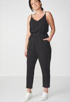 Cotton On - Woven strappy Jackie jumpsuit - black