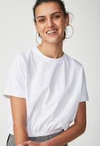 Cotton On - Ivy short sleeve waisted top - white