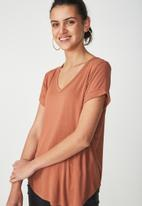 Cotton On - Karly short sleeve V-neck top - tan