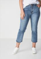 Cotton On - Mid rise straight crop stretch jean - blue