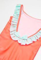 dailyfriday - Kids girls ruffle sleeve swimming costume - orange & green